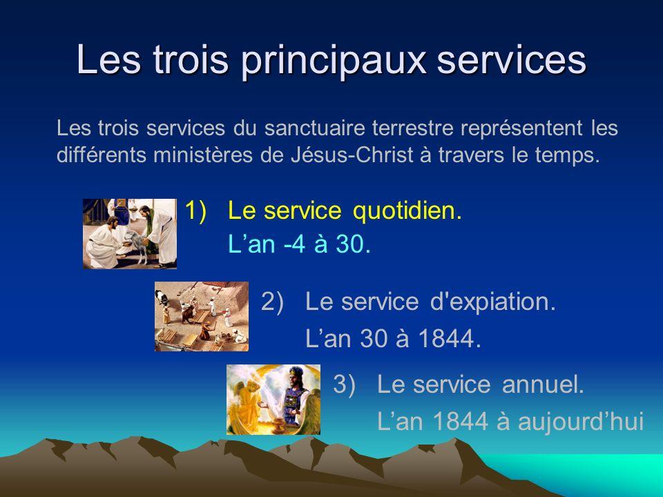 Les trois principaux services 1)Le service quotidien. Lan -4 à 30. 2)Le service d'expiation. Lan 30 à 1844. 3)Le service annuel. Lan 1844 à aujourdhui