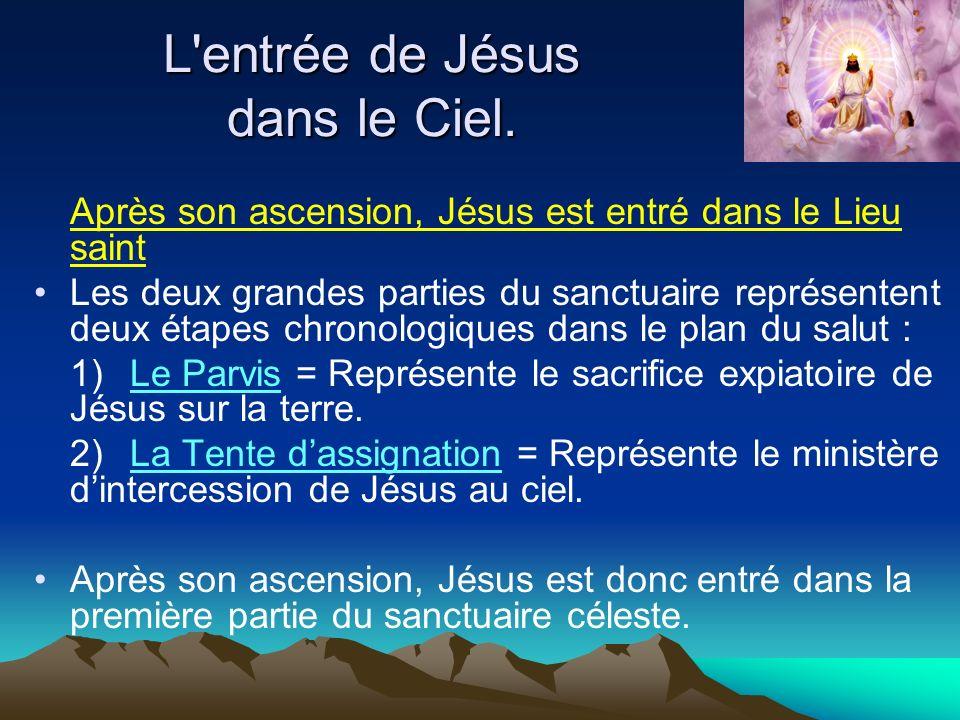 L'entrée de Jésus dans le Ciel. Après son ascension, Jésus est entré dans le Lieu saint Les deux grandes parties du sanctuaire représentent deux étape