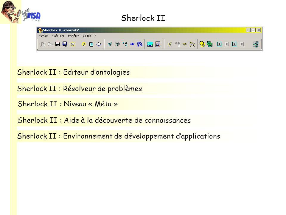 Sherlock II Sherlock II : Environnement de développement dapplications Sherlock II : Editeur dontologies Sherlock II : Aide à la découverte de connaissances Sherlock II : Résolveur de problèmes Sherlock II : Niveau « Méta »