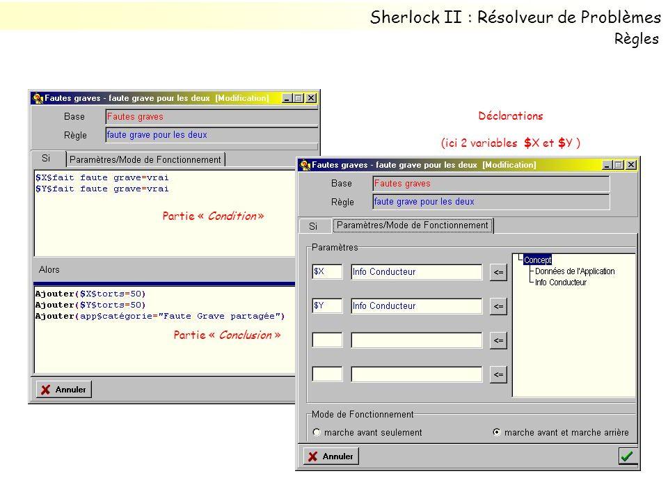Partie « Condition » Déclarations (ici 2 variables $X et $Y ) Partie « Conclusion » Sherlock II : Résolveur de Problèmes Règles