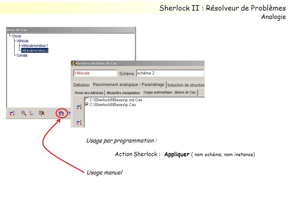 Usage par programmation : Action Sherlock : Appliquer ( nom schéma, nom instance) Sherlock II : Résolveur de Problèmes Usage manuel Analogie