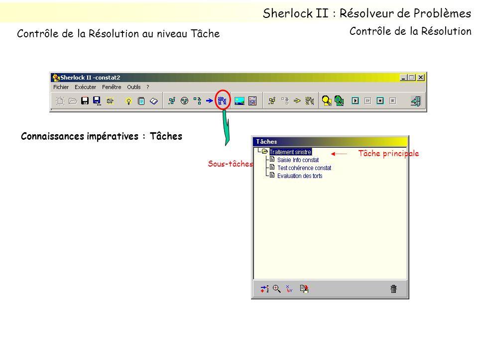Connaissances impératives : Tâches Sous-tâches Tâche principale Contrôle de la Résolution Sherlock II : Résolveur de Problèmes Contrôle de la Résoluti