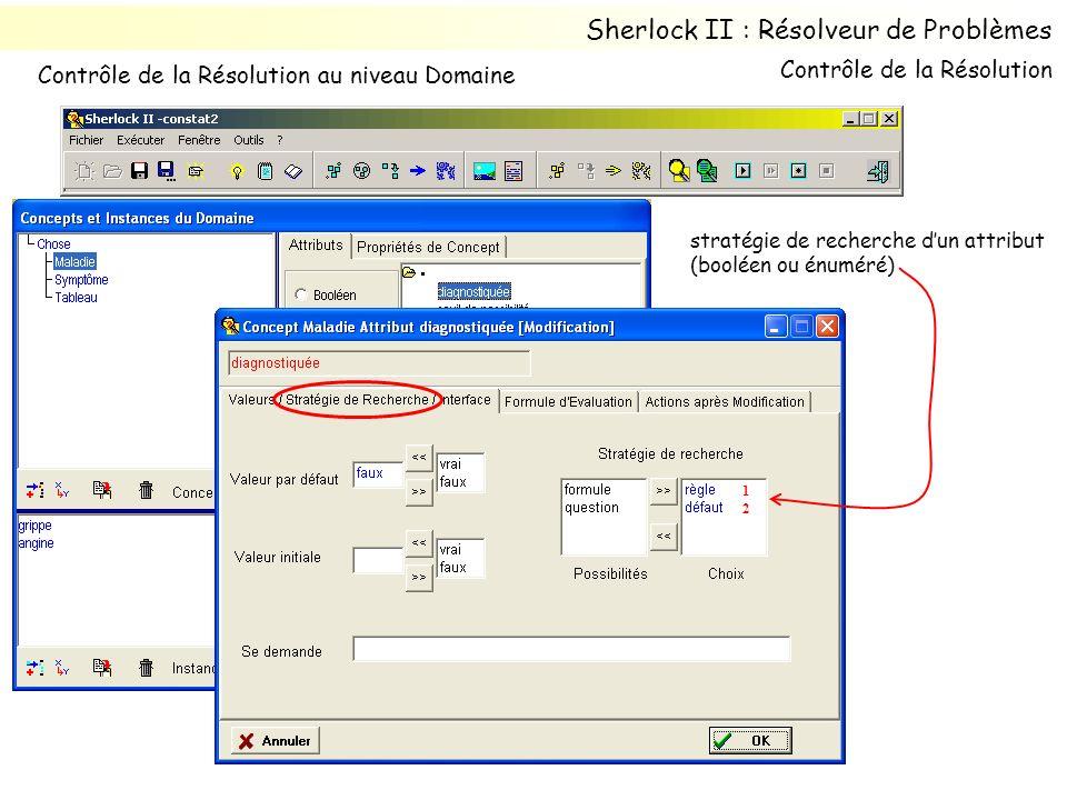 stratégie de recherche dun attribut (booléen ou énuméré) 1212 Sherlock II : Résolveur de Problèmes Contrôle de la Résolution au niveau Domaine Contrôl