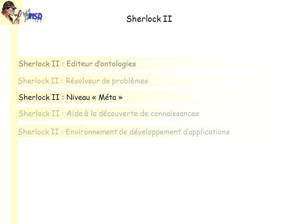 Sherlock II Sherlock II : Editeur dontologies Sherlock II : Environnement de développement dapplications Sherlock II : Aide à la découverte de connaissances Sherlock II : Résolveur de problèmes Sherlock II : Niveau « Méta »