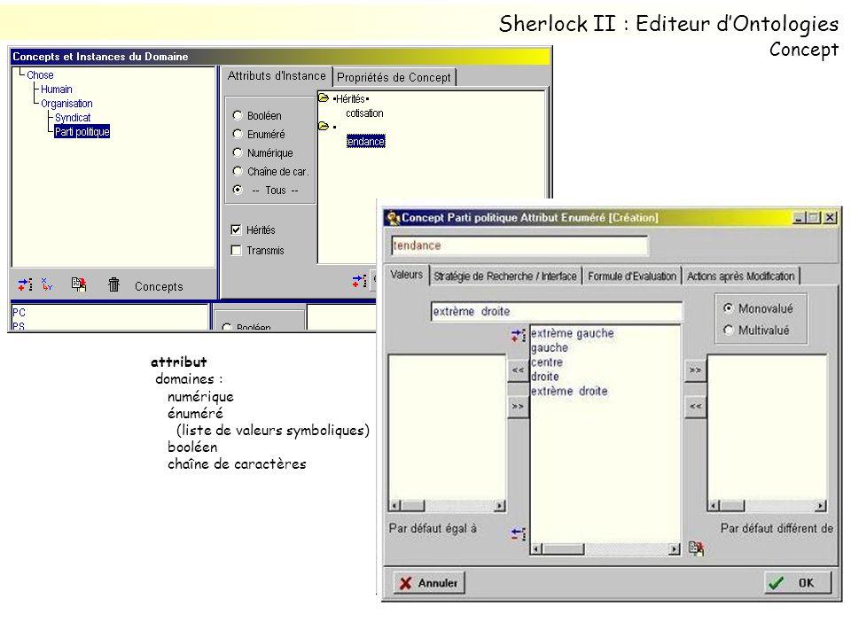 attribut domaines : numérique énuméré (liste de valeurs symboliques) booléen chaîne de caractères Sherlock II : Editeur dOntologies Concept