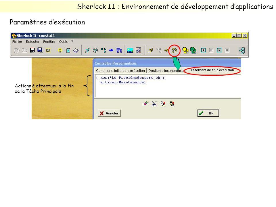 Actions à effectuer à la fin de la Tâche Principale Sherlock II : Environnement de développement dapplications Paramètres dexécution