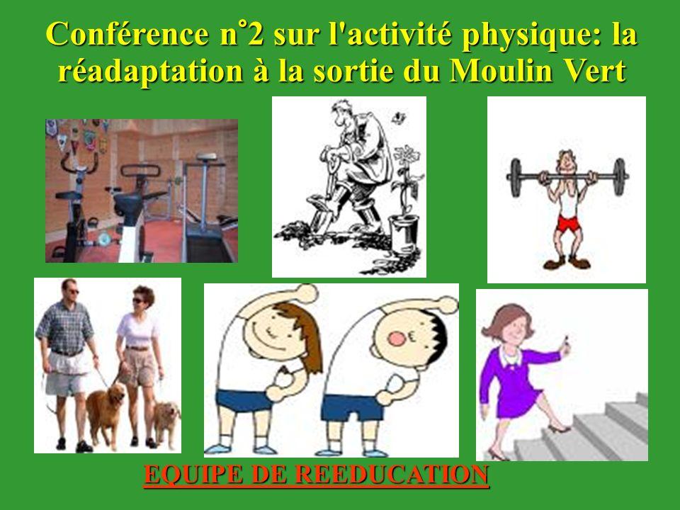 EQUIPE DE REEDUCATION Conférence n°2 sur l'activité physique: la réadaptation à la sortie du Moulin Vert