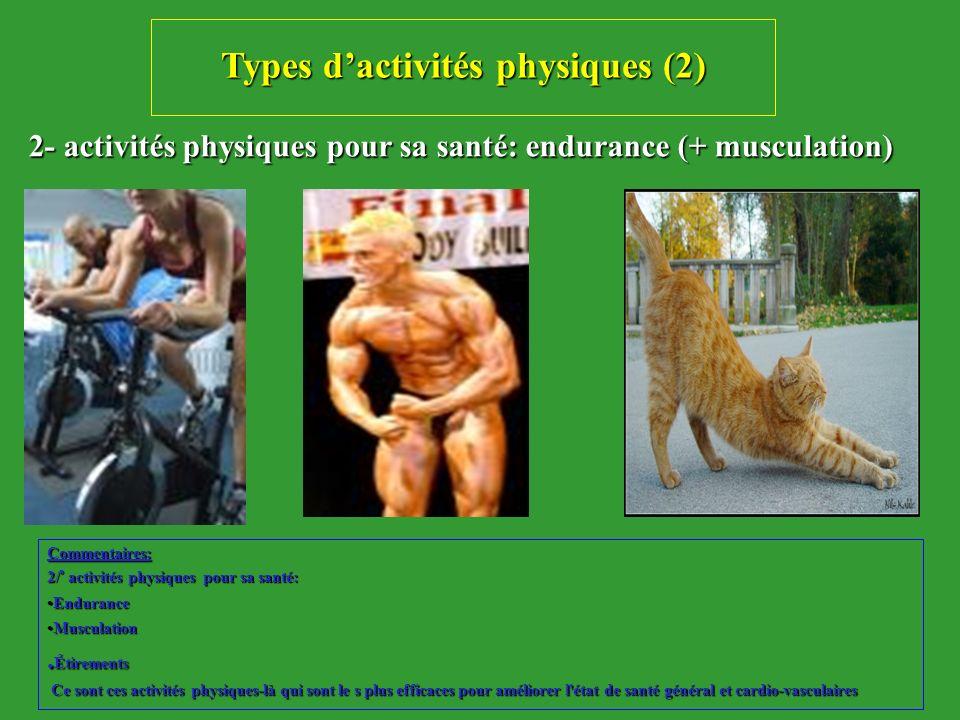 Types dactivités physiques (2) 2- activités physiques pour sa santé: endurance (+ musculation) 2- activités physiques pour sa santé: endurance (+ musc