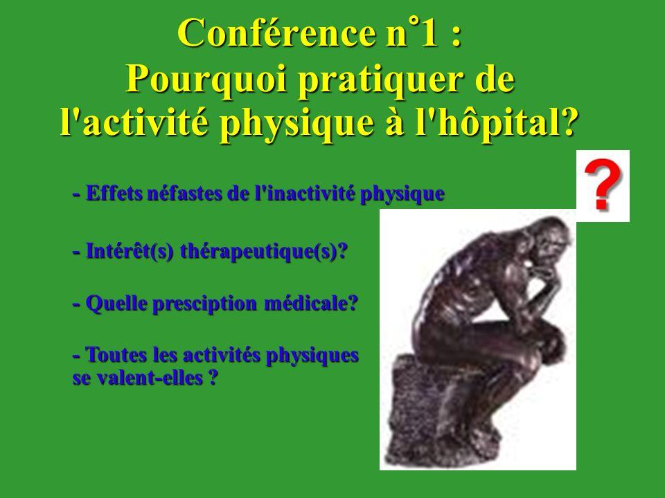 Conférence n°1 : Pourquoi pratiquer de l'activité physique à l'hôpital? - Intérêt(s) thérapeutique(s)? - Effets néfastes de l'inactivité physique - Qu