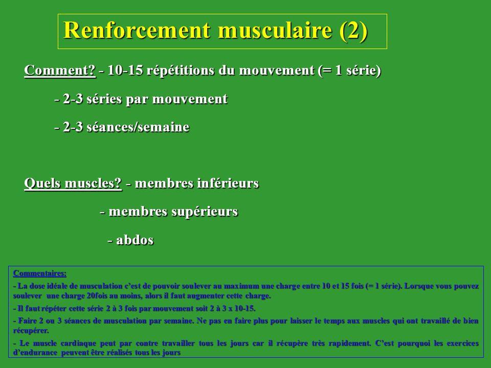 Comment? - 10-15 répétitions du mouvement (= 1 série) - 2-3 séries par mouvement - 2-3 séries par mouvement - 2-3 séances/semaine - 2-3 séances/semain
