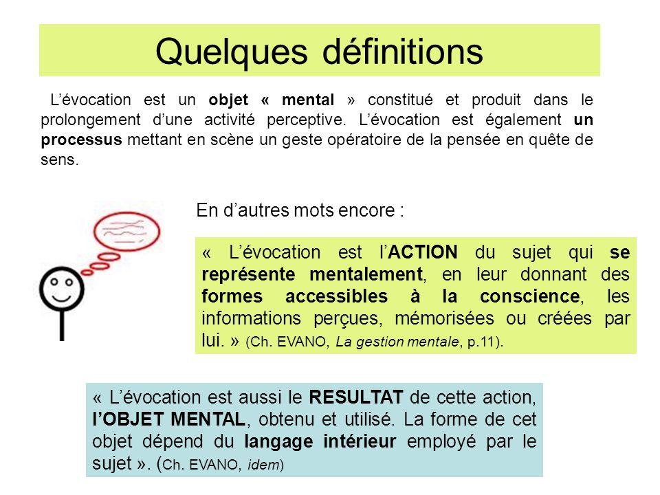 Quelques définitions Lévocation est un objet « mental » constitué et produit dans le prolongement dune activité perceptive.