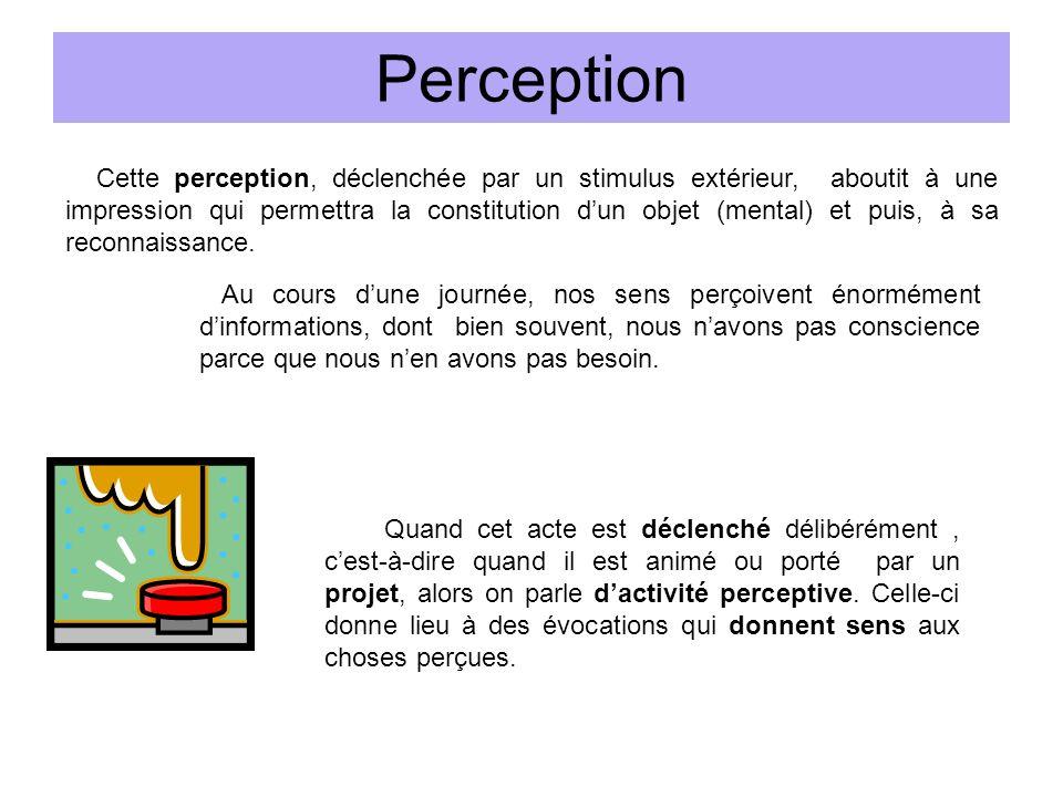 Perception Cette perception, déclenchée par un stimulus extérieur, aboutit à une impression qui permettra la constitution dun objet (mental) et puis, à sa reconnaissance.