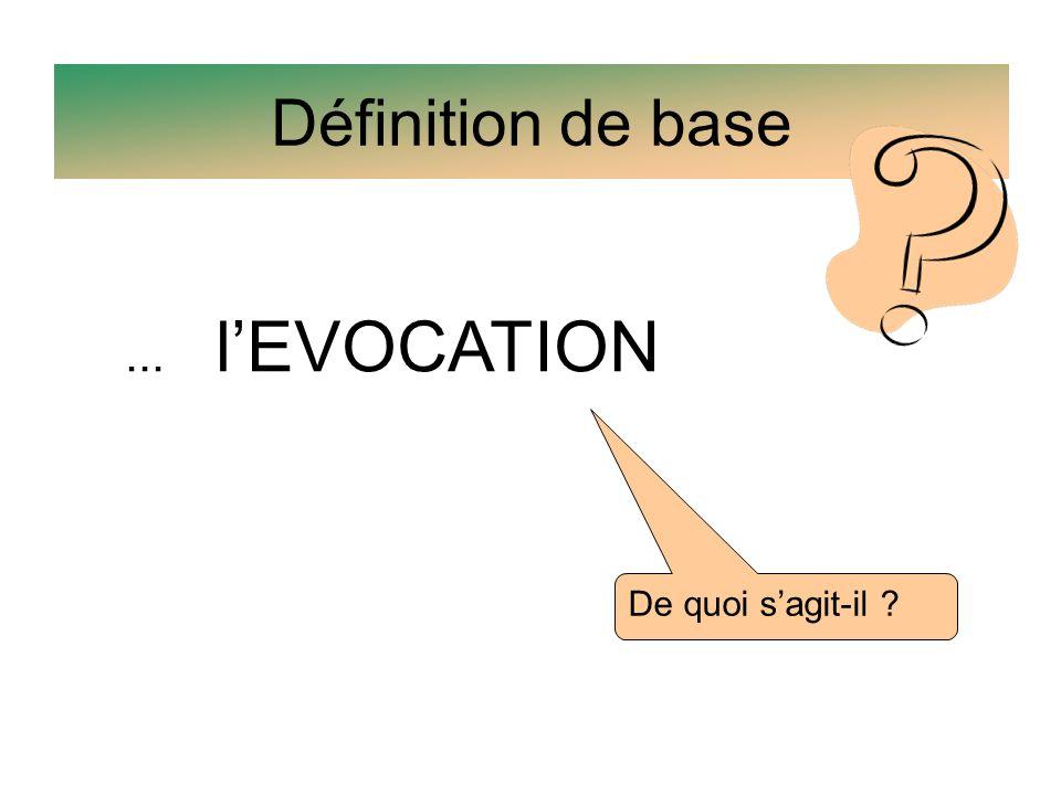 Définition de base... lEVOCATION De quoi sagit-il ?