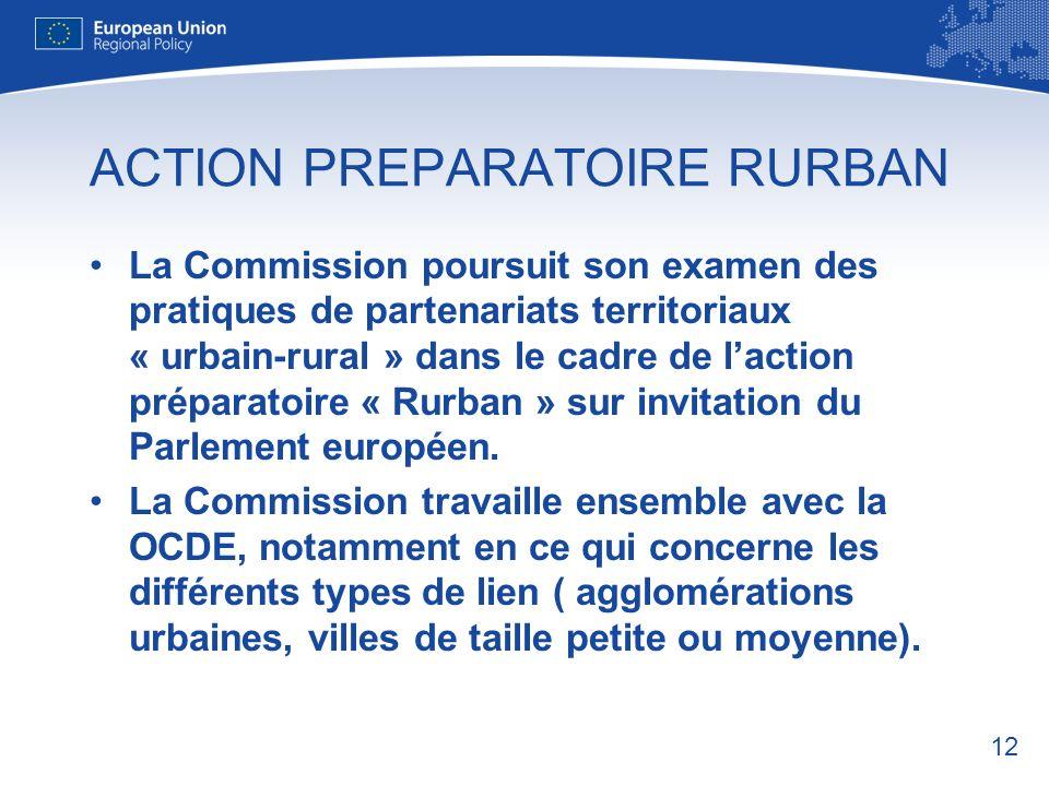 12 ACTION PREPARATOIRE RURBAN La Commission poursuit son examen des pratiques de partenariats territoriaux « urbain-rural » dans le cadre de laction préparatoire « Rurban » sur invitation du Parlement européen.
