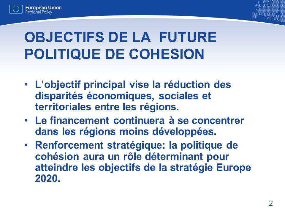 2 OBJECTIFS DE LA FUTURE POLITIQUE DE COHESION Lobjectif principal vise la réduction des disparités économiques, sociales et territoriales entre les régions.