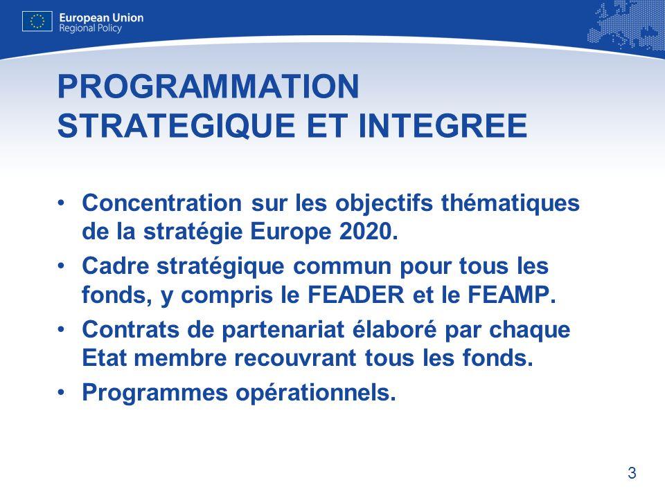 3 PROGRAMMATION STRATEGIQUE ET INTEGREE Concentration sur les objectifs thématiques de la stratégie Europe 2020.