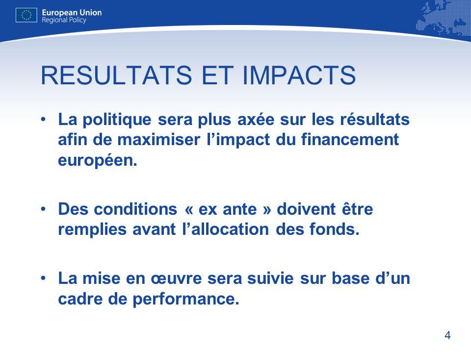 4 RESULTATS ET IMPACTS La politique sera plus axée sur les résultats afin de maximiser limpact du financement européen.