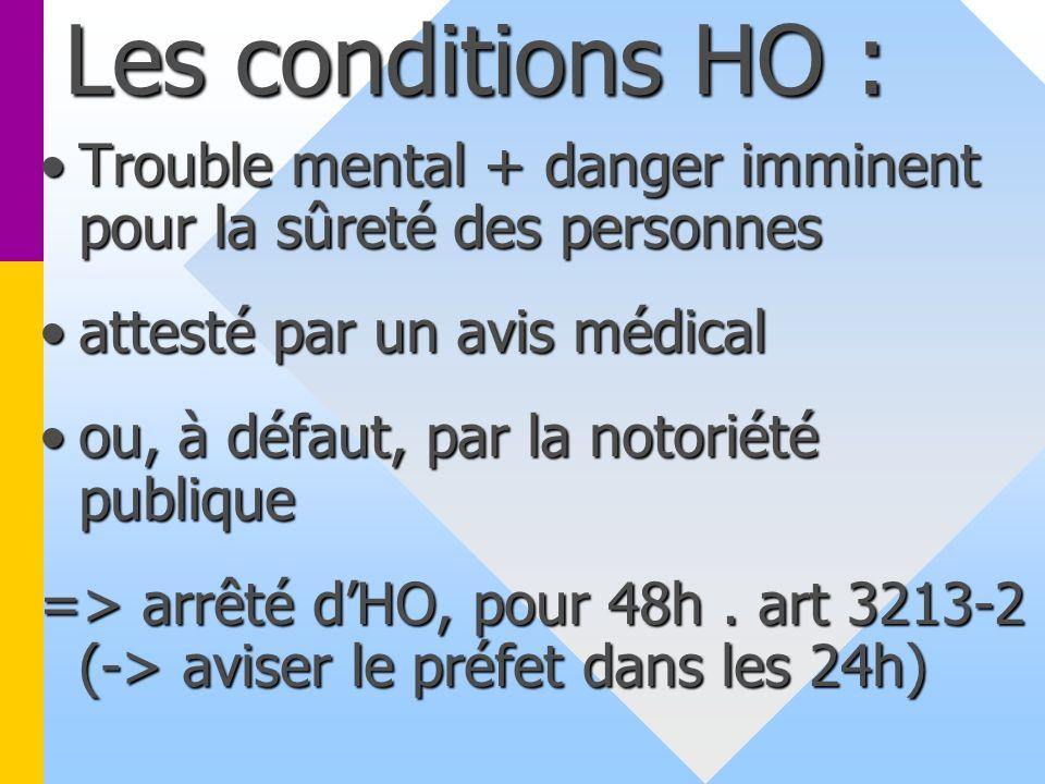 Les conditions HO : Trouble mental + danger imminent pour la sûreté des personnesTrouble mental + danger imminent pour la sûreté des personnes attesté