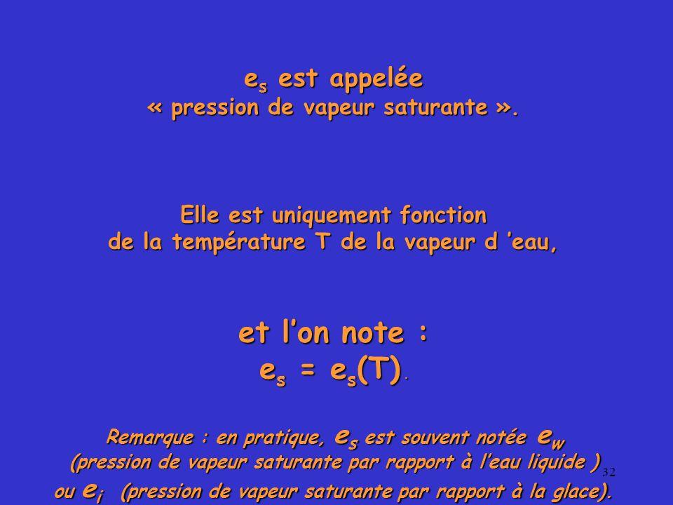32 e s est appelée « pression de vapeur saturante ». Elle est uniquement fonction de la température T de la vapeur d eau, et lon note : e s = e s (T).