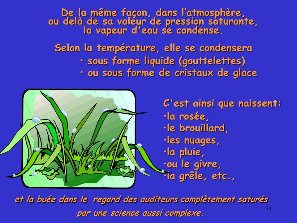 34 De la même façon, dans latmosphère, au delà de sa valeur de pression saturante, la vapeur d'eau se condense. Selon la température, elle se condense