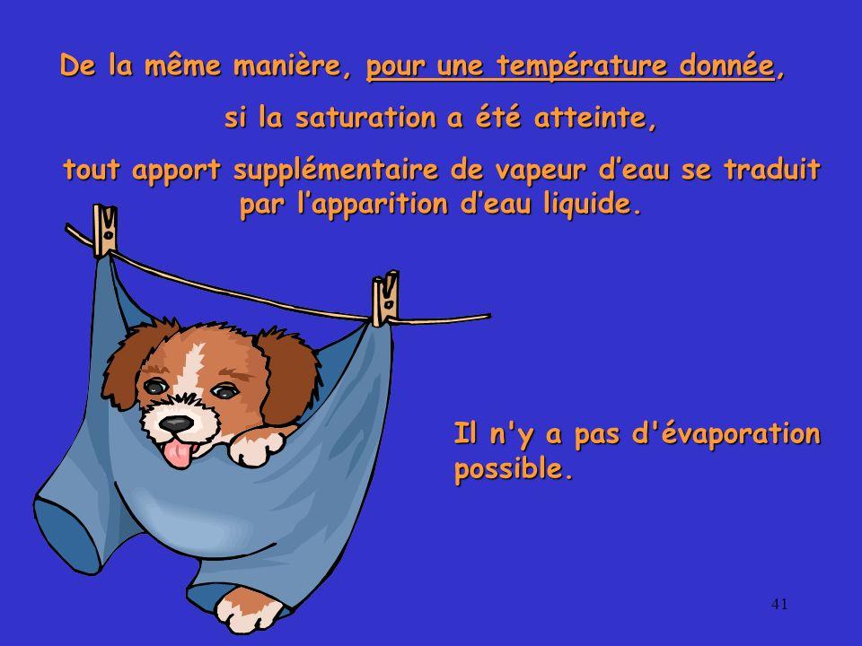 41 De la même manière, pour une température donnée, si la saturation a été atteinte, tout apport supplémentaire de vapeur deau se traduit par lapparit