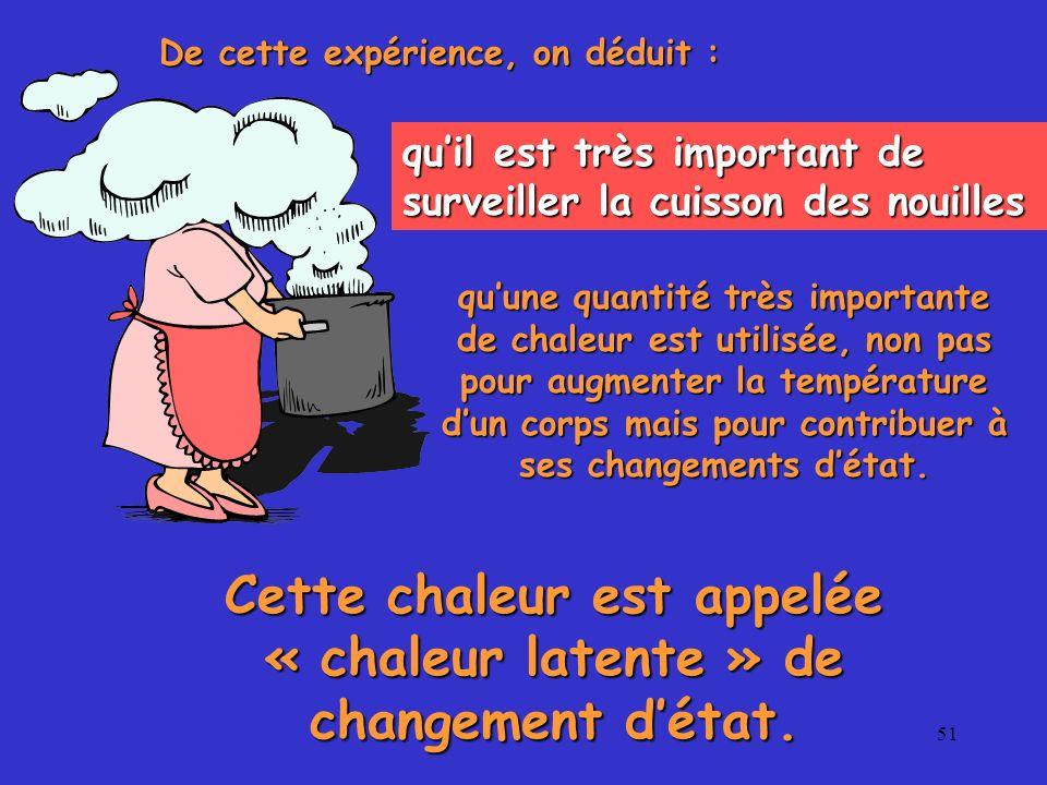51 De cette expérience, on déduit : quil est très important de surveiller la cuisson des nouilles quune quantité très importante de chaleur est utilis