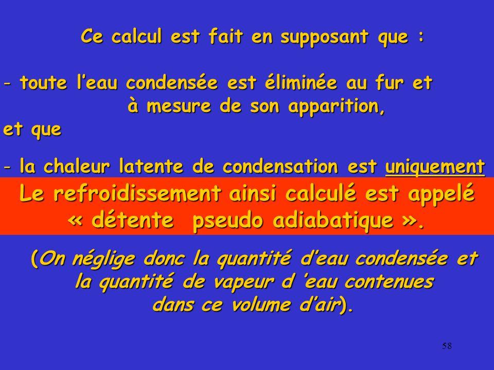 58 Ce calcul est fait en supposant que : - toute leau condensée est éliminée au fur et à mesure de son apparition, à mesure de son apparition, et que