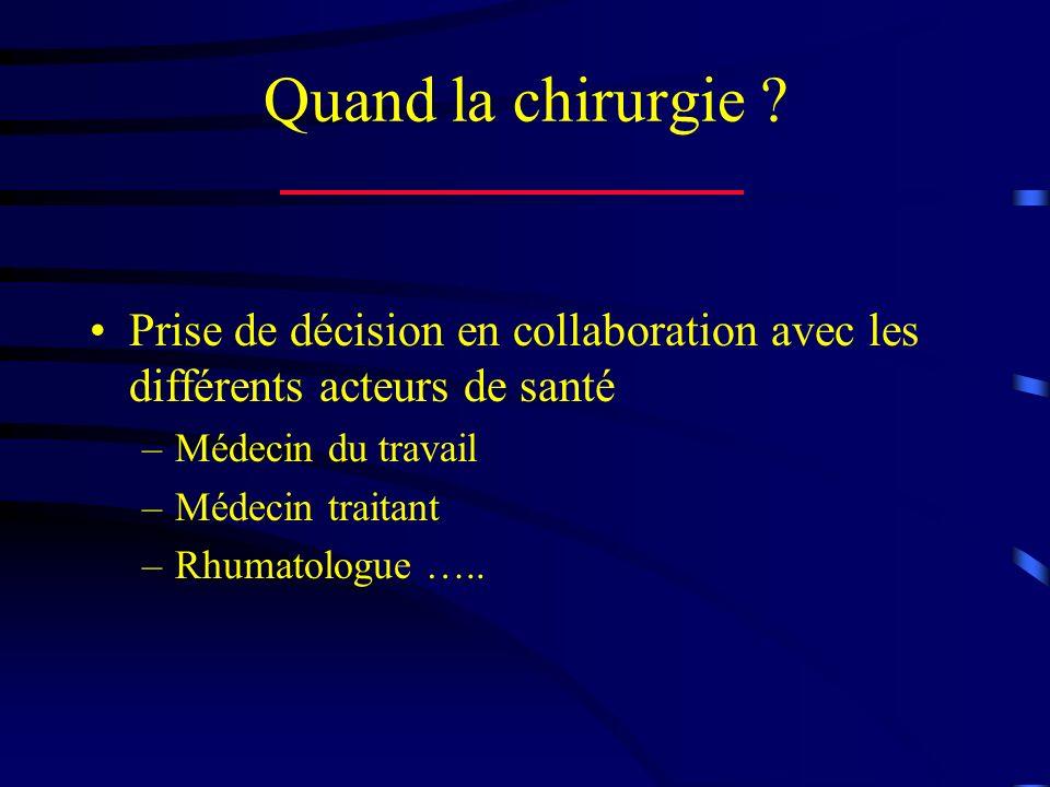 Quand la chirurgie ? Prise de décision en collaboration avec les différents acteurs de santé –Médecin du travail –Médecin traitant –Rhumatologue …..
