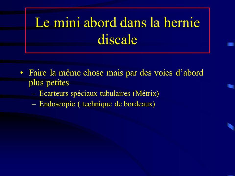 Le mini abord dans la hernie discale Faire la même chose mais par des voies dabord plus petites –Ecarteurs spéciaux tubulaires (Métrix) –Endoscopie (