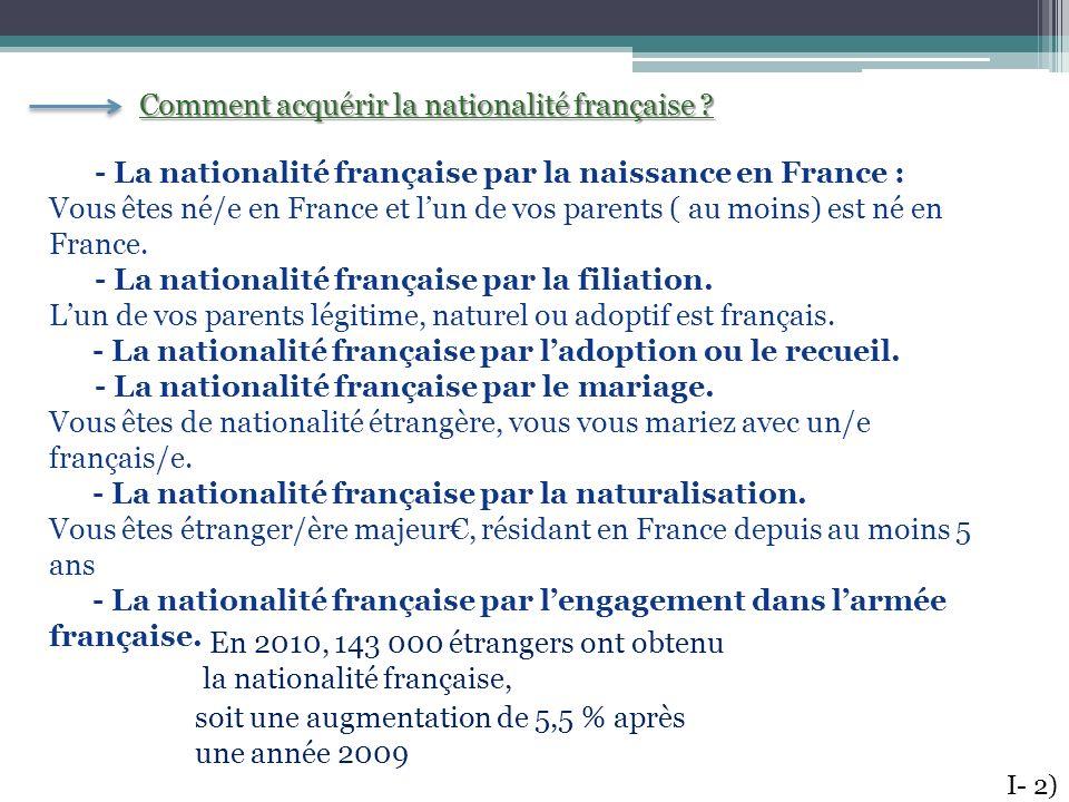 Comment acquérir la nationalité française ? - La nationalité française par la naissance en France : Vous êtes né/e en France et lun de vos parents ( a