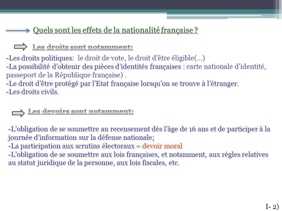 Quels sont les effets de la nationalité française ? -Les droits politiques -Les droits politiques: le droit de vote, le droit dêtre éligible(…) -La po