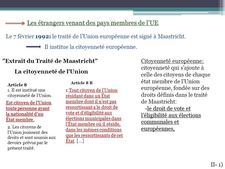 Les étrangers venant des pays membres de lUE Le 7 février 1992: le traité de lUnion européenne est signé à Maastricht. Il institue la citoyenneté euro