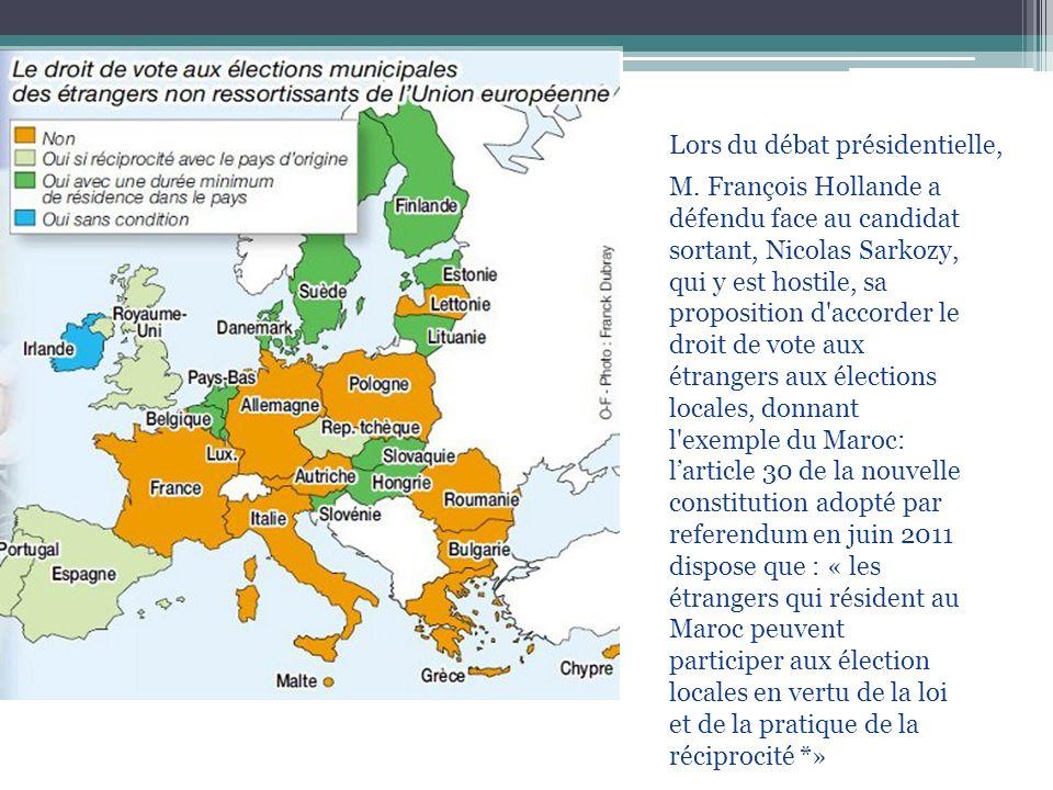 Lors du débat présidentielle, M. François Hollande a défendu face au candidat sortant, Nicolas Sarkozy, qui y est hostile, sa proposition d'accorder l