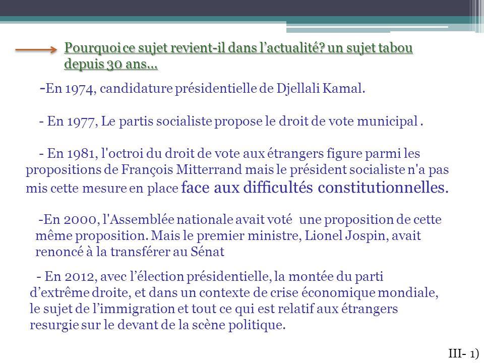 - En 1974, candidature présidentielle de Djellali Kamal. - En 1977, Le partis socialiste propose le droit de vote municipal. - En 1981, l'octroi du dr