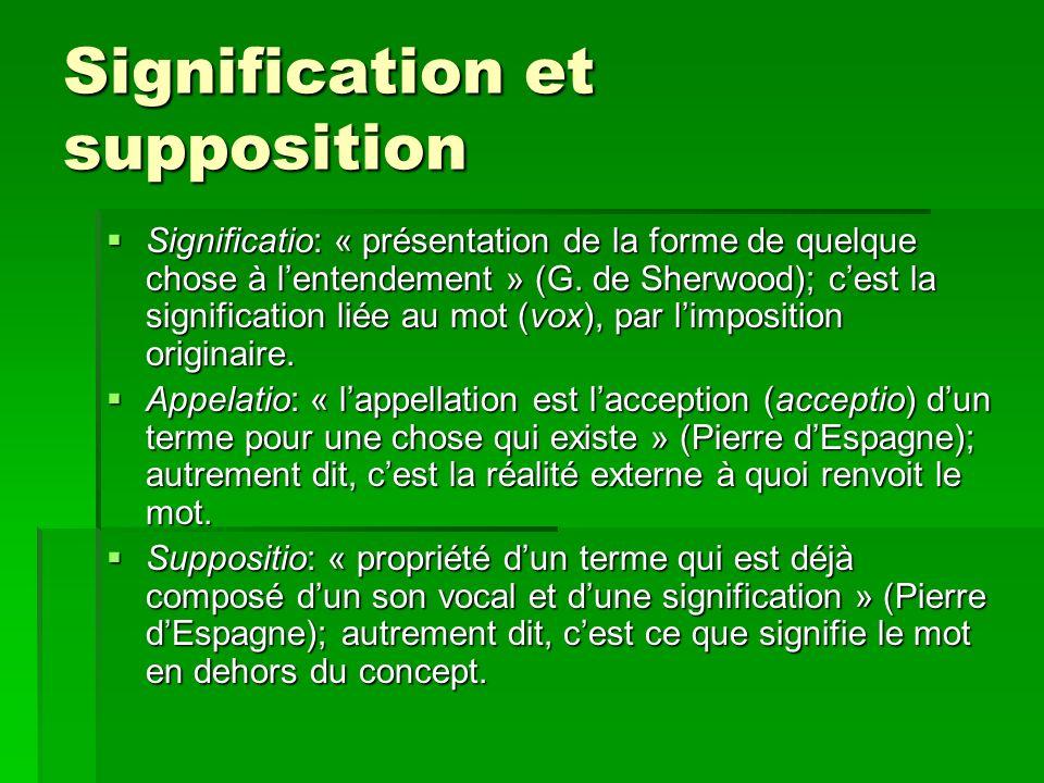Signification et supposition Significatio: « présentation de la forme de quelque chose à lentendement » (G. de Sherwood); cest la signification liée a