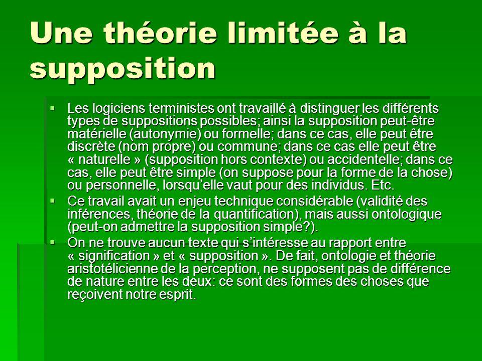 Une théorie limitée à la supposition Les logiciens terministes ont travaillé à distinguer les différents types de suppositions possibles; ainsi la sup