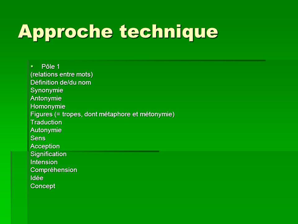 Approche technique Pôle 1 Pôle 1 (relations entre mots) Définition de/du nom SynonymieAntonymieHomonymie Figures (= tropes, dont métaphore et métonymi