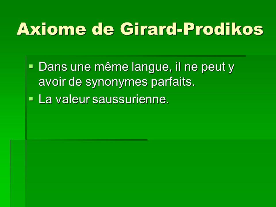 Axiome de Girard-Prodikos Dans une même langue, il ne peut y avoir de synonymes parfaits. Dans une même langue, il ne peut y avoir de synonymes parfai