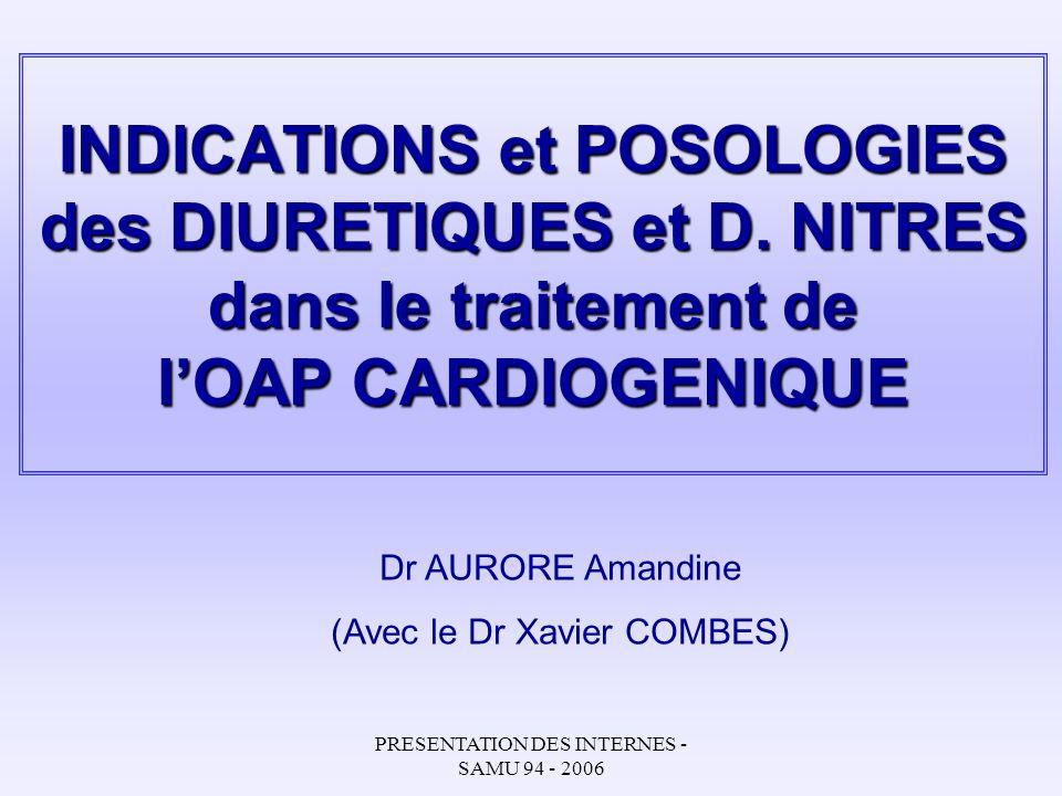 PRESENTATION DES INTERNES - SAMU 94 - 2006 INDICATIONS et POSOLOGIES des DIURETIQUES et D. NITRES dans le traitement de lOAP CARDIOGENIQUE Dr AURORE A