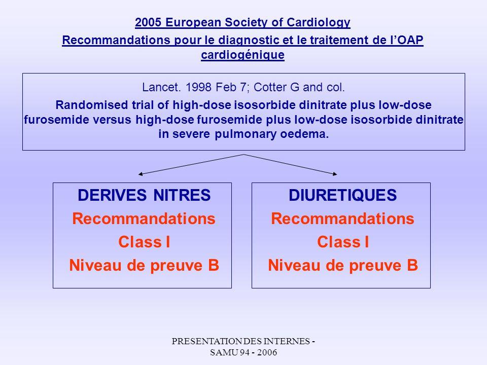 PRESENTATION DES INTERNES - SAMU 94 - 2006 2005 European Society of Cardiology Recommandations pour le diagnostic et le traitement de lOAP cardiogéniq