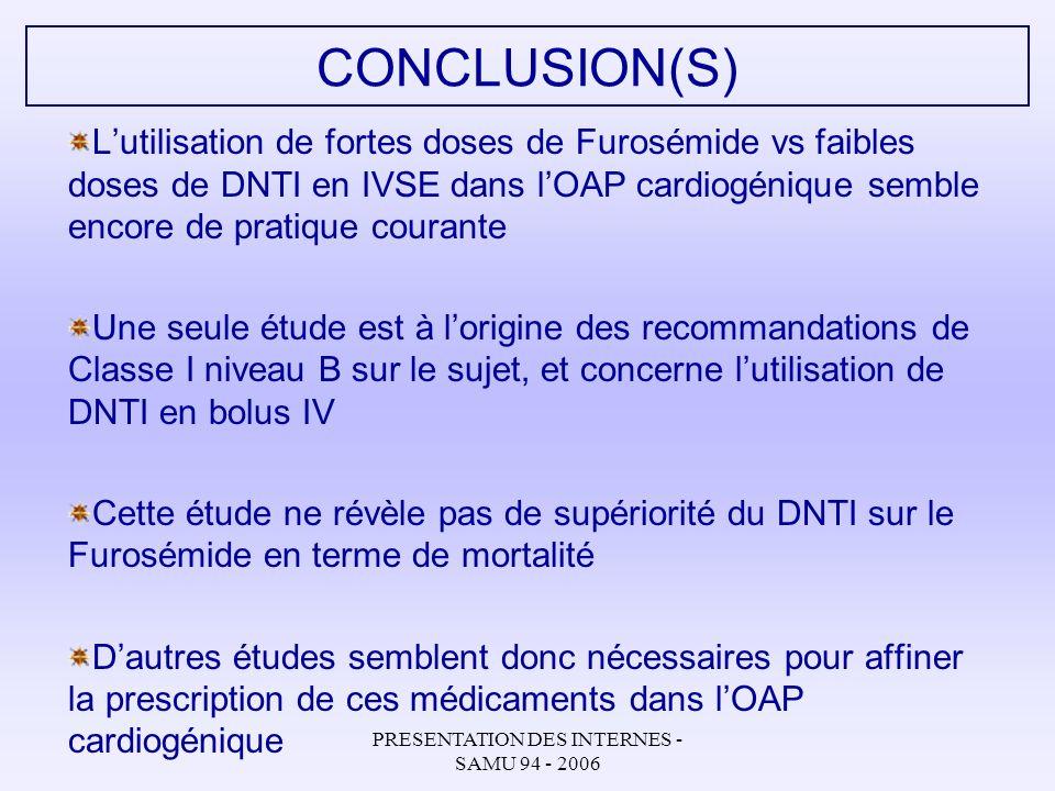 PRESENTATION DES INTERNES - SAMU 94 - 2006 CONCLUSION(S) Lutilisation de fortes doses de Furosémide vs faibles doses de DNTI en IVSE dans lOAP cardiog