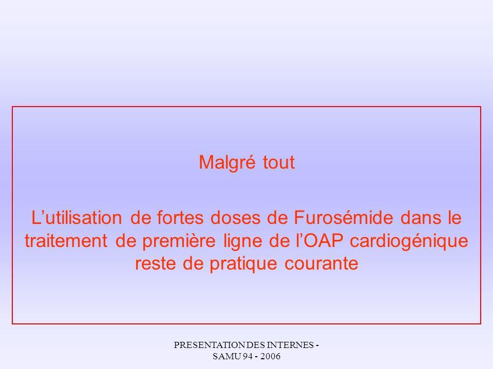 PRESENTATION DES INTERNES - SAMU 94 - 2006 2005 European Society of Cardiology Recommandations pour le diagnostic et le traitement de lOAP cardiogénique DERIVES NITRES Recommandations Class I Niveau de preuve B Lancet.