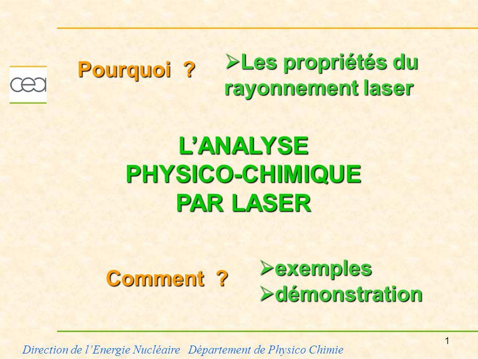 1 Direction de lEnergie Nucléaire Département de Physico Chimie LANALYSE PHYSICO-CHIMIQUE PAR LASER Comment ? Les propriétés du rayonnement laser Les