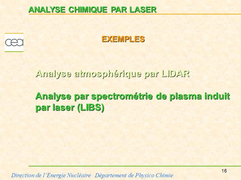 16 Direction de lEnergie Nucléaire Département de Physico Chimie ANALYSE CHIMIQUE PAR LASER Analyse atmosphérique par LIDAR Analyse par spectrométrie