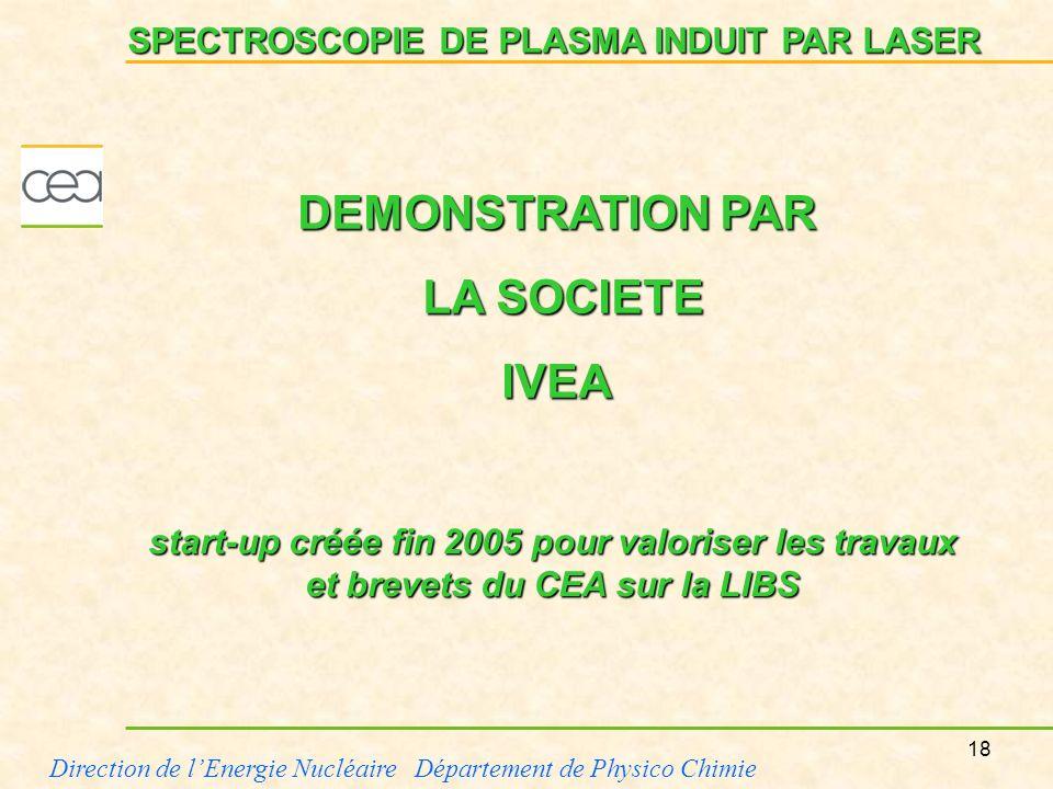 18 Direction de lEnergie Nucléaire Département de Physico Chimie SPECTROSCOPIE DE PLASMA INDUIT PAR LASER DEMONSTRATION PAR LA SOCIETE LA SOCIETEIVEA
