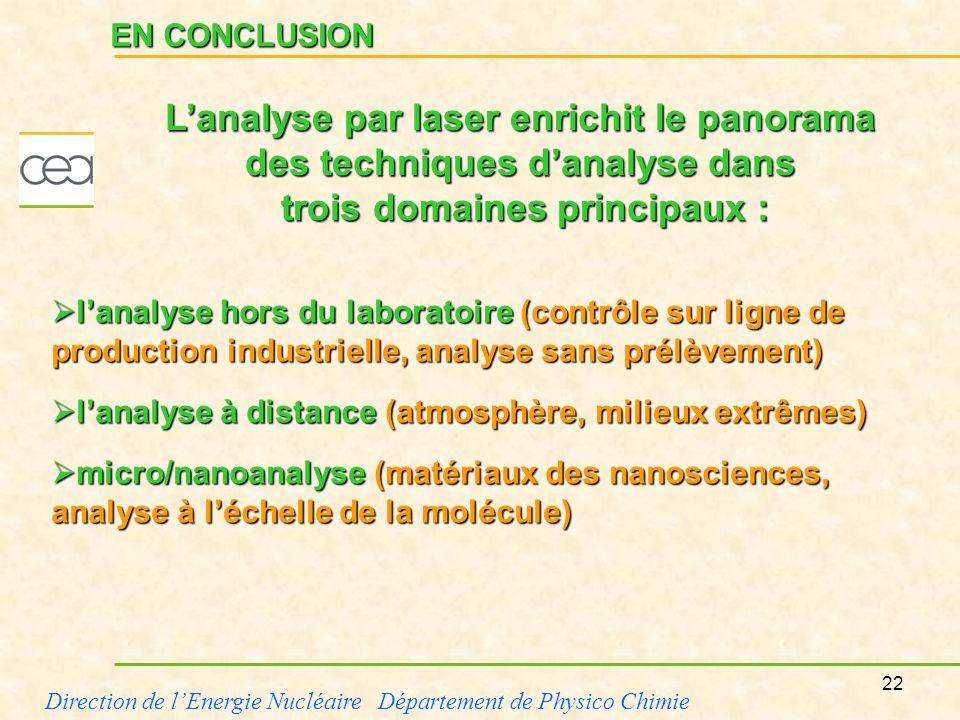 22 Direction de lEnergie Nucléaire Département de Physico Chimie EN CONCLUSION lanalyse hors du laboratoire (contrôle sur ligne de production industri