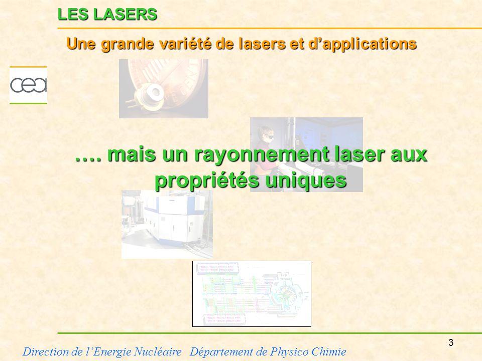 3 Direction de lEnergie Nucléaire Département de Physico Chimie LES LASERS Une grande variété de lasers et dapplications …. mais un rayonnement laser