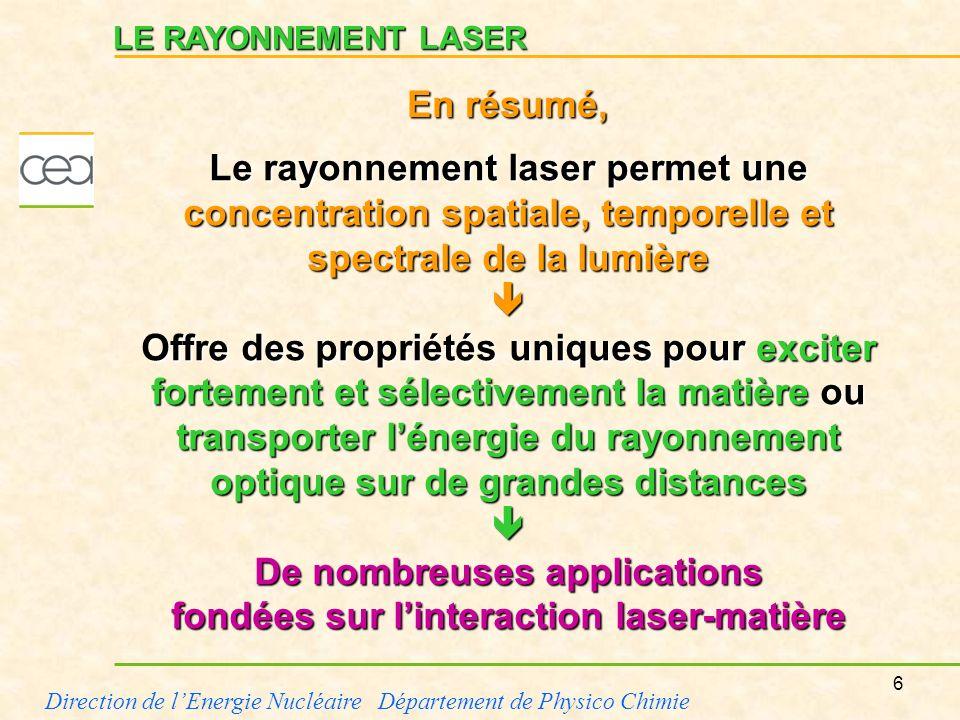 6 Direction de lEnergie Nucléaire Département de Physico Chimie LE RAYONNEMENT LASER Le rayonnement laser permet une concentration spatiale, temporell