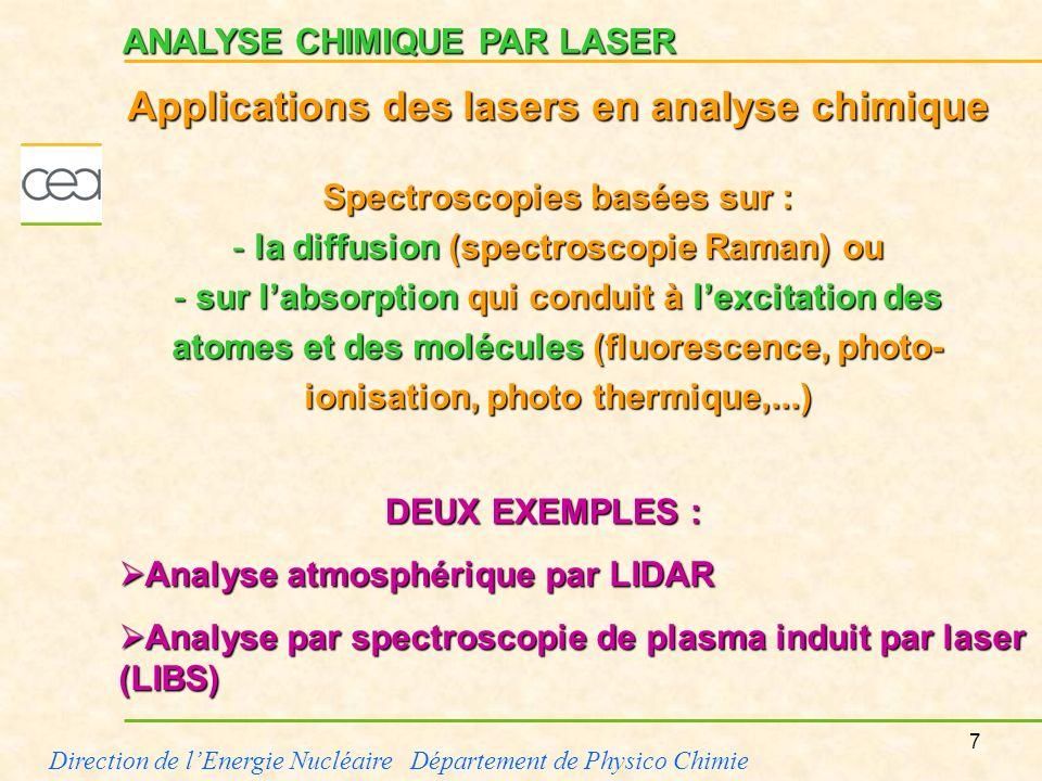8 Direction de lEnergie Nucléaire Département de Physico Chimie ANALYSE ATMOSPHÉRIQUE PAR LIDAR Emission de limpulsion laser dans latmosphère Principe : une impulsion laser est émise dans latmosphère.