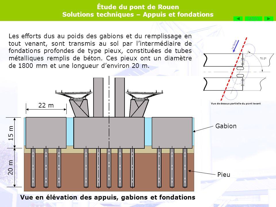 Étude du pont de Rouen Solutions techniques – Appuis et fondations MENU Sur le diaporama intégré au DVD, le schéma est complété en faisant glisser les vignettes au bon endroit